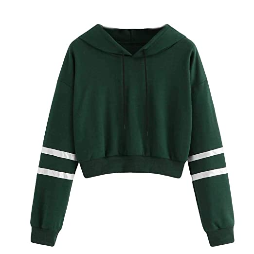 98976e6e14 COOKI Women Teen Girls Striped Crop Sweatshirt Hoodie Cute Long Sleeve Crop  Top Hooded Sweatshirt Jumper
