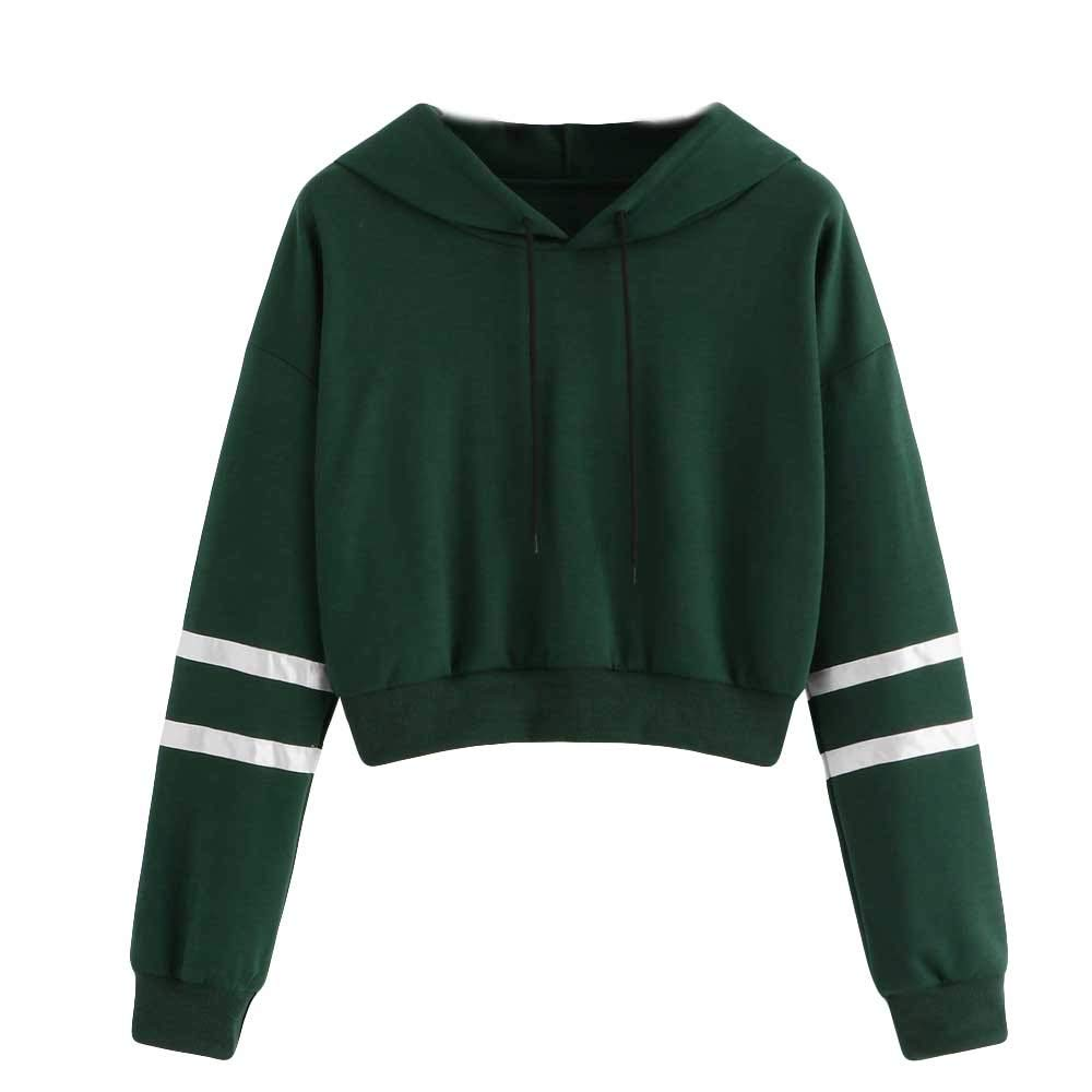 COOKI Women Teen Girls Striped Crop Sweatshirt Hoodie Cute Long Sleeve Crop Top Hooded Sweatshirt Jumper Pullover Tops