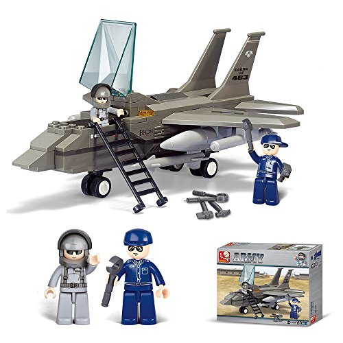 Lightahead DIY Building Blocks Set Airforce Airplane and Mini Figures Construction Kit Toy Set for Kids, 142 Piece