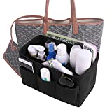 Felt Insert Purse Organizer, Multi Pocket Bag in Bag Organizer For Tote & Handbag Shaper 3 Color,3 Size Medium Large Extra Large (Large, Black)