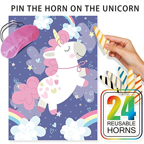 Pin The Horn On The Unicorn Party Game for Unicorn Themed Activities Set,24 Reusable Horns,Fabric Unicorn Poster,Blindfold Mask,Magical Rainbow Party Supplies,Fun Birthday Party Favors for (Slumber Party Game)
