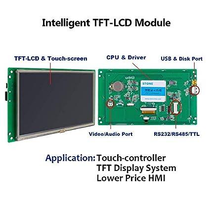 Pantalla t/áctil de 4,3 Pulgadas TFT/® STVA043WT-01 con CPU y UART con Todos los Datos t/écnicos en U Disco para Uso mec/ánico