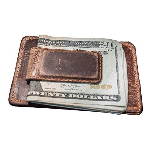 Hanks Leather Money Clip Front Pocket Wallet with Credit Card Holder - USA MADE - Vintage Brown