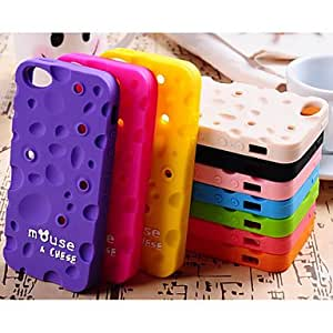 QJM Fragrance Solid Color Cheese The Winding Device Silica Gel Cover With for iPhone 5/5S Case (Assorted Color) , Beige