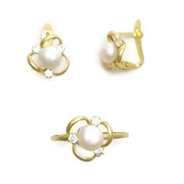 30070d68585a Lovely Conjunto de Oro 18K de Anillo y Pendientes para Niñas J. Luis I3047