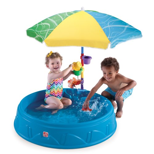 (Step2 Play & Shade Pool | Kids Outdoor Pool with Umbrella & Water Toy Accessories)