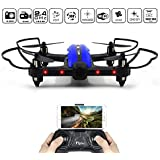 Racing Drone, FLYTEC T18D Wifi FPV Quadcopter with 720p HD Camera Live Video with App-Controlled RC Quadcopter 2.4GHz 6-Axis Gyro One Key Return VR Ready Altitude Hold Drones for Kids(Blue)