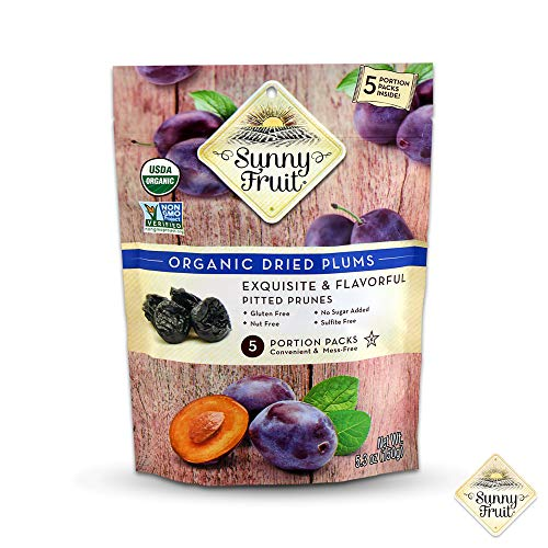 ORGANIC Dried Prunes - Sunny Fruit - (5) 1.06oz Portion Packs per Bag | Purely Prunes - NO Added Sugars, Sulfurs or Preservatives | NON-GMO, VEGAN & HALAL