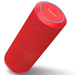 Zamkol Enceinte Bluetooth Portable, Waterproof Haut-Parleur Bluetooth Enceinte sans Fil 24W, 360° HD Bass Pilote Double, Bluetooth 4.2, étanche IPX6, Mains Libres et Technologie TWS - Rouge 8