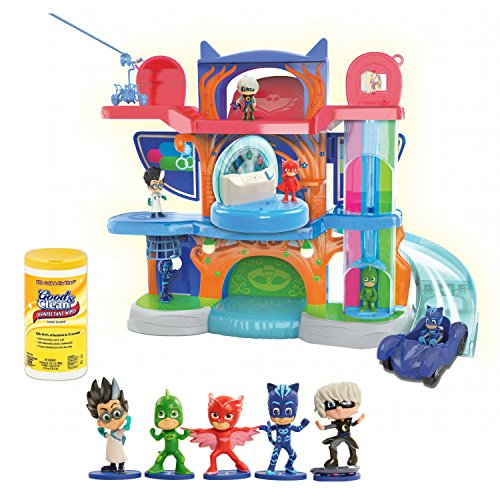 PJ Masks Headquarter Play Set with 5-Piece PJ Masks Action Figure Plus BONUS Surface Disinfectant Cleaning Wipes, 35 ()