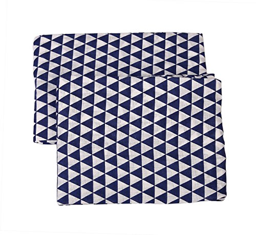 Bacati Aztec/Tribal Navy Crib/Toddler Bed Fitted Sheets 100% Cotton Muslin 2 Pack, Small Triangles