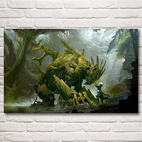 N / A Pintura sin Marco Dragon Guild War Screen Videojuego Art Seda Poster Decoracion de la Pared Painting24X38cm
