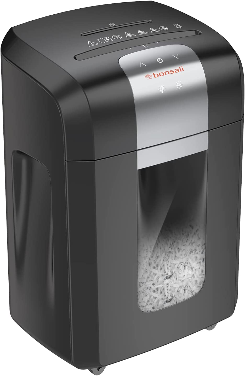 Bonsaii Paper Shredder, 120 Minutes Running Time, 14-Sheet Heavy Duty Cross-Cut CD Credit Card Shredder for Office with 6 Gallon Pull-Out Basket and 4 Casters, Black
