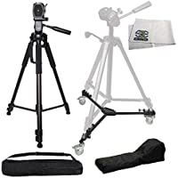 "Pro 72"" 3-way Tilt Motion w/ Bubble Leveling Tripod + Heavy Duty Portable Tripod Dolly for Canon EOS SL2 T5i T6i T6s T7i 60D 70D 77D 80D 6D 6D Mark II 7D 7D Mark II 5D Mark III IV 5Ds 5Ds R M5 M6"