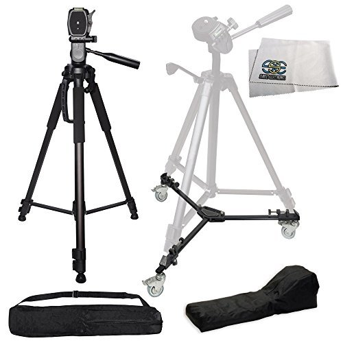 72' Professional Heavy Duty 3-Way Pan Head Tripod + HEAVY DUTY PORTABLE TRIPOD DOLLY INCLUDING CARRYING CASES FOR EACH For The Canon Digital Rebel T4i 650D T1i (EOS 500D) T2i (EOS 550D) and T3i SLR Camera