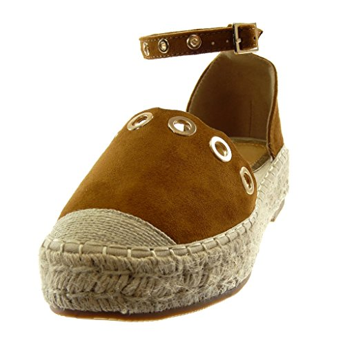 Angkorly Damen Schuhe Sandalen Espadrilles - Plateauschuhe - Knöchelriemen - Perforiert - Golden - Seil Blockabsatz 3.5 cm Camel