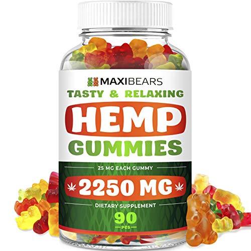 Maxibears Hemp Gummies – 2250 MG, 90 pcs – 25 MG Gummy Bear – Yummy Tasting & Relaxing – Made in The USA – Relief for Stress, Pain, Sleep, Anxiety – Vitamin E &Vitamin B & Omega 3, 6, 9