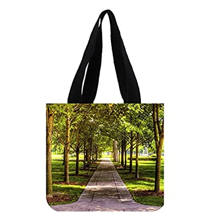 Lawn Green Grass Trees Park Boulevard Wallpaper Tote Bag Canvas Shopping 2 Sides