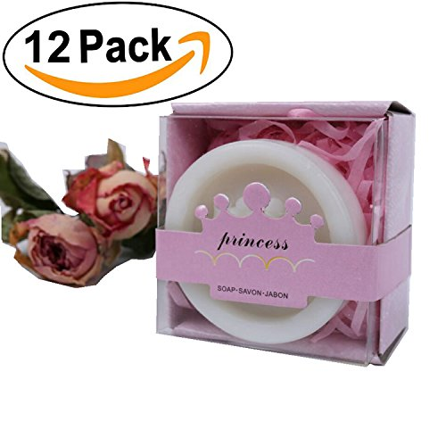 AiXiAng Handmade Princess Crown Style Soap Favors with Pink Gift Packaging for Baby Shower Decorations (12 Pack)