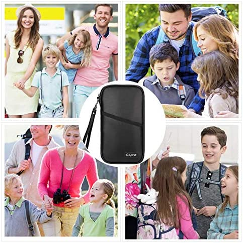 Fireproof Family Travel Itinerary Passport Holder Wallet Travel Accessories RFID Blocking Document Organizer Case with Strap for Women & Men