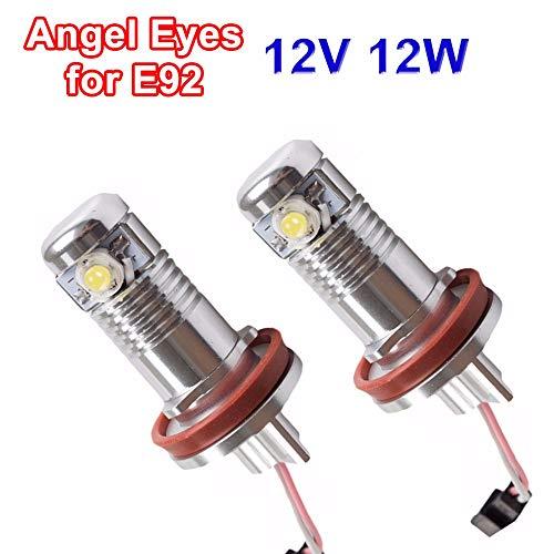 2 x 6 W 12 W H8 Angel Eyes 7000 K LED marcador Xenon Blanco para BMW E82 E87 E90 E91 M3 E92 E60 E61 E63 E64 E70 E84