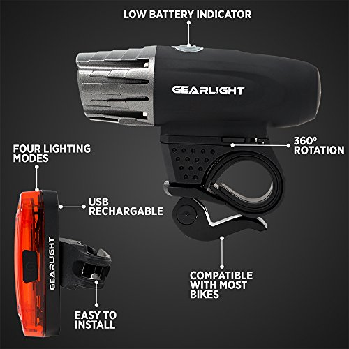 GearLight S300 Rechargeable LED Bike Light Set - High Lumen Front and Back Rear Cycling Safety Lights - Best All-Weather USB Headlight and Tail Light for Kid and Adult Bicycles by GearLight (Image #5)