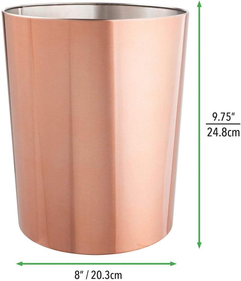 corbeille ronde en plastique couleur cr/ème//bronze poubelle de salle de bain compacte avec bac int/érieur amovible mDesign poubelle avec couvercle basculant pour la salle de bain ou la cuisine