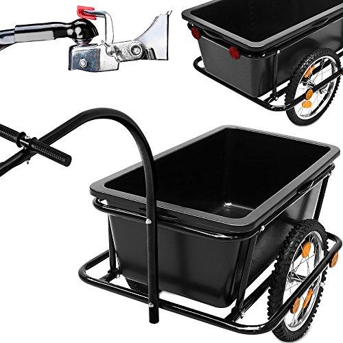 Fahrradanhänger mit 90 Liter Kunststoffwanne inkl. Kupplung - Lastenanhänger Transportanhänger Handwagen Anhänger