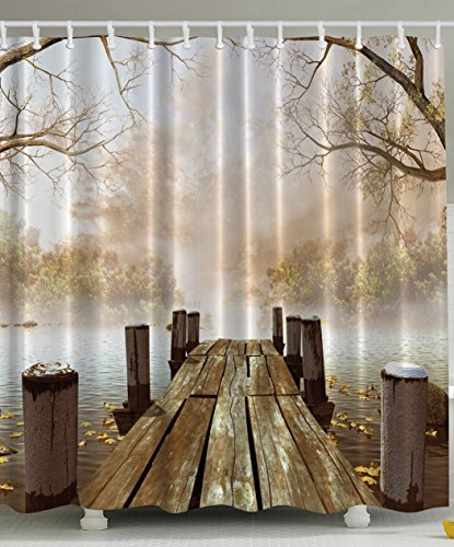 [Shower Curtain Collection Ocean Decor FallWooden Bridge Seasons Lake House Nature Country Rustic Home Art Paintings Pictures for Bathroom Seascape Decorations Brown Beige Khaki] (The Pope Costume At The White House)