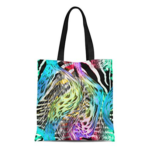 - Tinmun Canvas Tote Bag Reusable Colorful Abstract of Stripes Leopard for Pattern Green African Shoulder Grocery Shoulder Bag Handbag Printed