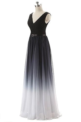 WeiYin Women's Chiffon V-Neck Long Formal Dress Evening Dresses