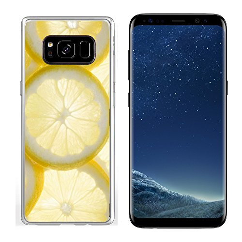 MSD Samsung Galaxy S8 Clear case Soft TPU Rubber Silicone Bumper Snap Cases IMAGE of lemon fruit citrus food vitamin healthy slice juice juicy yellow fresh taste sour macro background