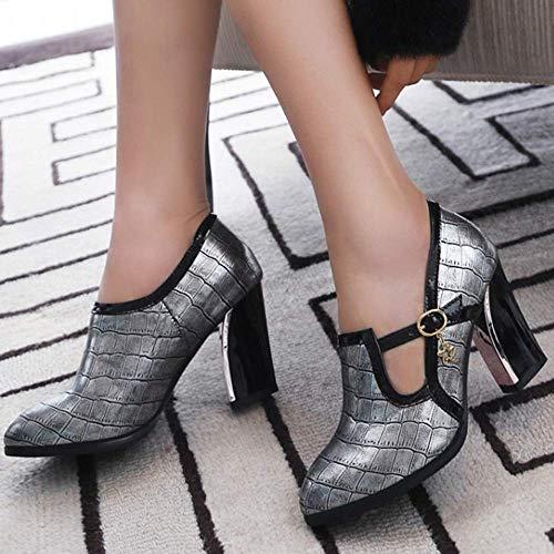 Brogue Talon Chaussures Argent Bloc Pumps Lydee Femmes Mode Zw7xqBTnnS