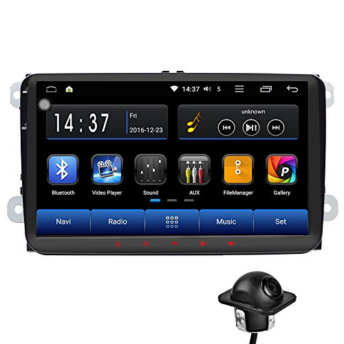 Android 6.0 Car Radio Stereo 9'' Double DIN Capacitive Touchscreen High Definition 1024x600 GPS Navigation Bluetooth USB Player 1G DDR3 + 16G NAND Memory Flash for VW Passat Golf MK5 MK6 Jetta+camera by Tmaxlife