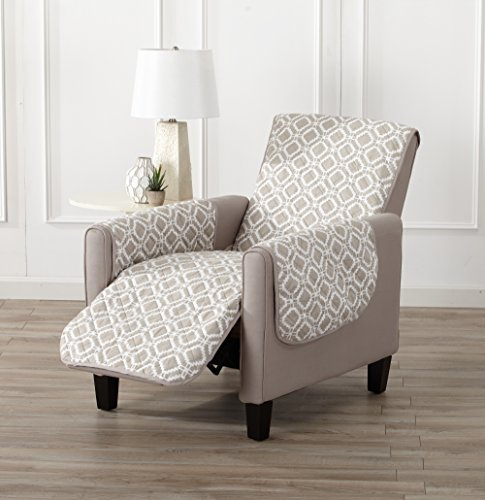 Printed Deluxe Reversible Stain Resistant Furniture Protector with Printed Pattern. Includes Adjustable Elastic Straps. Liliana Collection By Great Bay Home Brand. (Recliner, Silver Cloud) (Strap Furniture Collections)