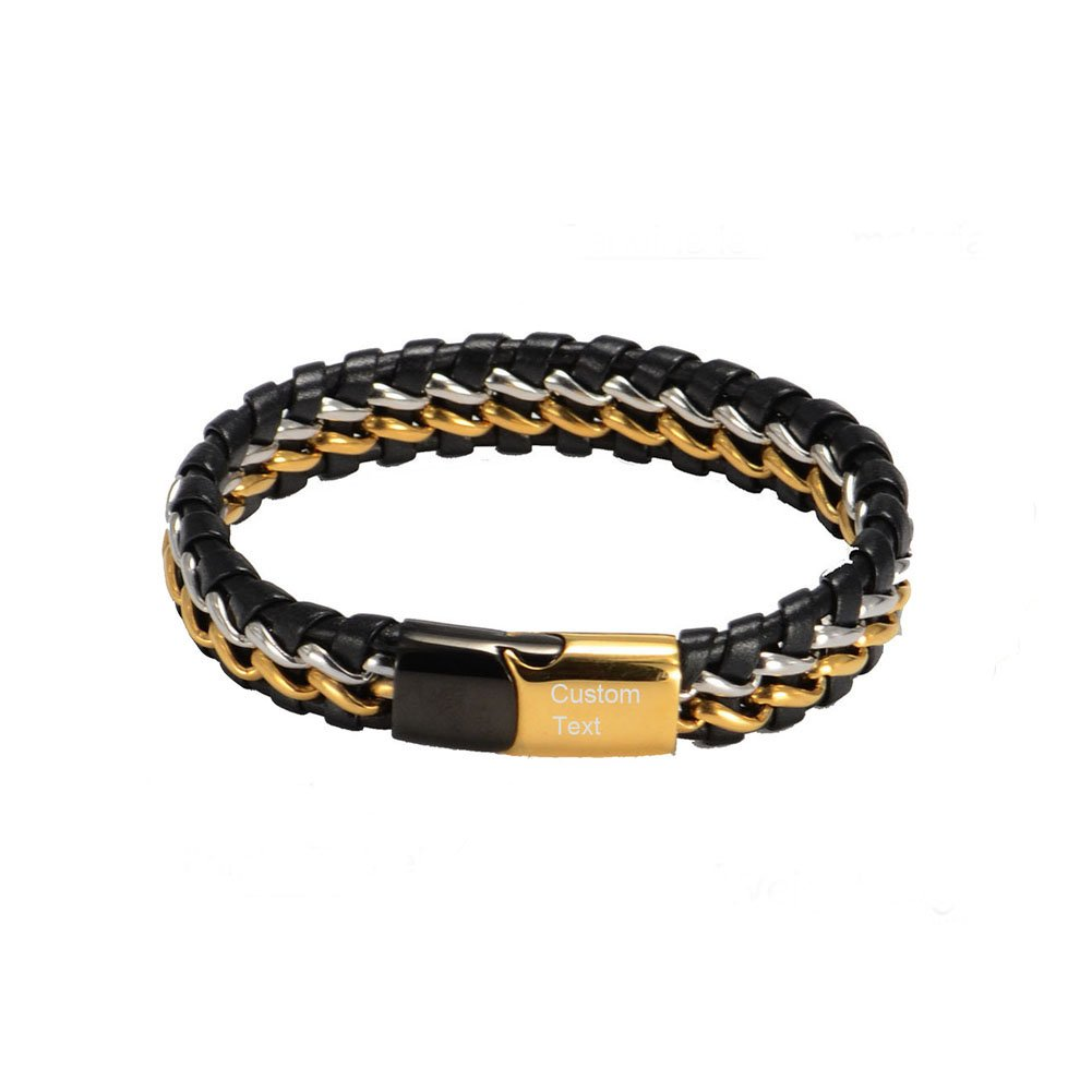 DEO JEWELRY Personalized Custom Name ID Wristband Mens Genuine Braided Leather Cuff Magnetic Clasp Bracelet