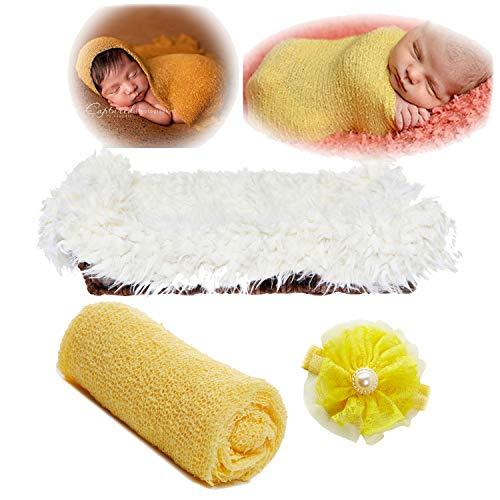 Newborn Baby Photography Props - Long Ripple Wrap Blanket and Lace Beads Headband (MatWrapSet-Yellow+White, OneSize)