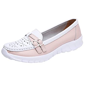 d469d9c1bf85f Amazon.com: Wulofs Women Outdoor Flat Hollow Leather Sports Shoes ...