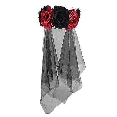 Goth Black Bride Headband Veil Flower Adult Ladies Halloween Fancy Dress Costume