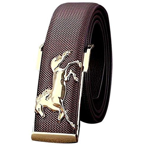 MensBuckle belt! Charberry Gold Horse Leisure Leather Strap Business Mens Belt Metal Buckles Belt (Coffee) from Charberry