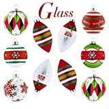 Valery Madelyn 10ct Classic Traditional Glass Christmas Ball Ornaments Red Green Silver White, 3.15inch-4.72inch,Themed Tree Skirt(Not Included)