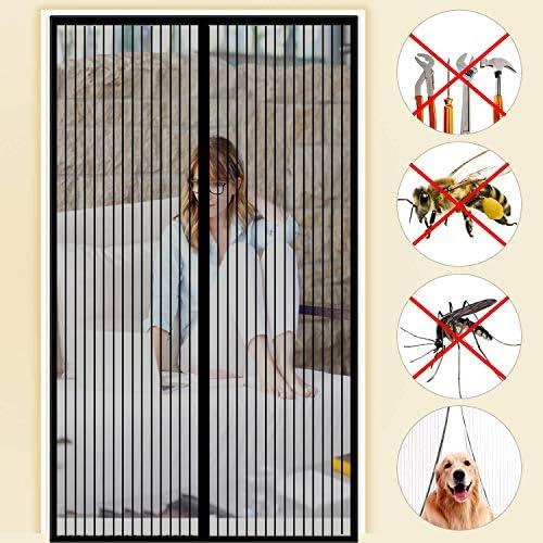 Bianca CHENG Zanzariera Magnetica Adesivo 115x210cm Telaio in Velcro Aria Fresca in /& Keep Bugs out Rete Adsorbimento Magnetico Pieghevole