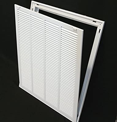 """20"""" X 24 Steel Return Air Filter Grille for 1"""" Filter - Removable Face/Door - HVAC Duct Cover - Flat Stamped Face - White [Outer Dimensions: 22.5""""w X 26.5""""h]"""