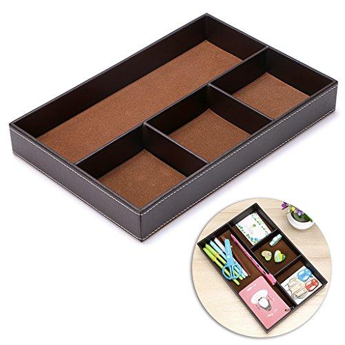 BTSKY 4 Slots Desk Drawer Organizer, PU Leather Drawer Storage Organizer Divider for Office Desk Supplies Value Collection and Accessories Multi-Purpose Storage Desktop Organizer Tray(Brown) ()