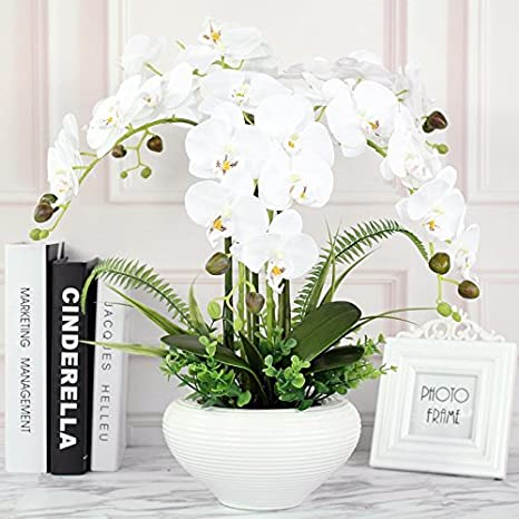 Lighsch Artificial Flowers Fake Orchid Phalaenopsis Bouquet Silk Flower Pot Creative Ceramic Dining Table White Home Kitchen