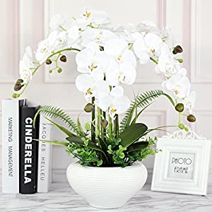 LighSCH Artificial Flowers Fake Orchid Phalaenopsis Bouquet silk flower pot creative ceramic dining table 55