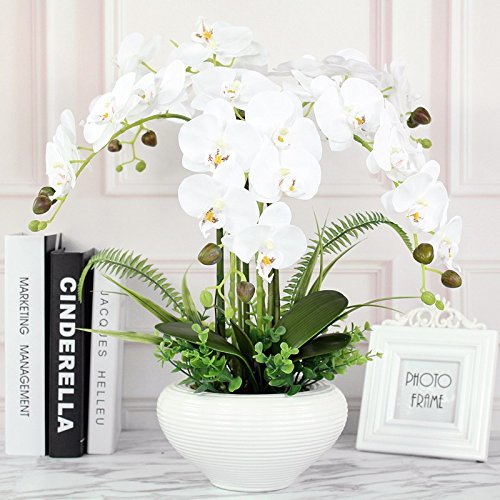 LighSCH Artificial Flowers Fake Orchid Phalaenopsis Bouquet silk flower pot creative ceramic dining table (Silk Orchids Bouquets)