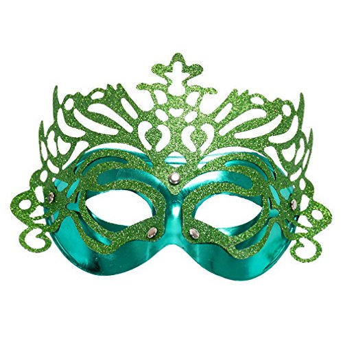 YAZILIND Fashion Sexy Lady Girl Half Face Mask For Costume Masquerade Halloween Party(Green) (Italian Mask Carnival)