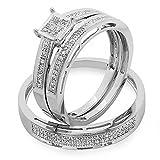 0.18 Carat (ctw) 10K White Gold Round Diamond Ladies & Mens Bridal Engagement Ring Trio Set Band