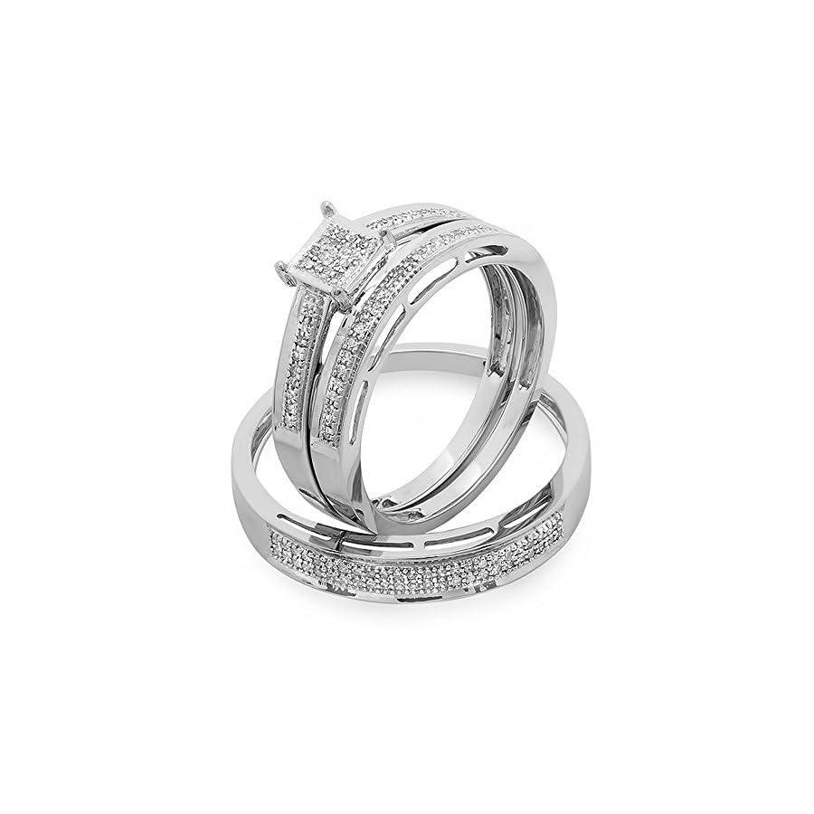 Dazzlingrock Collection 0.18 Carat (ctw) 10K White Gold Round Diamond Ladies & Mens His Hers Bridal Engagement Ring Trio Set